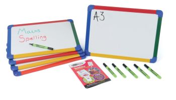 Show-Me A3 Magnetic Double Sided Plain/Plain Framed Whiteboards - Pack of 5