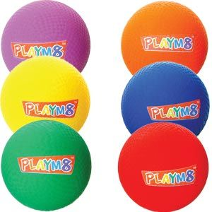 Playmate Playground Ball - Assorted - Pack of 6 - 20cm
