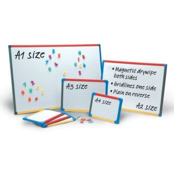 Show-Me A2 Magnetic Double Sided Gridded/Plain Framed Whiteboards - 60 x 45cm - Each