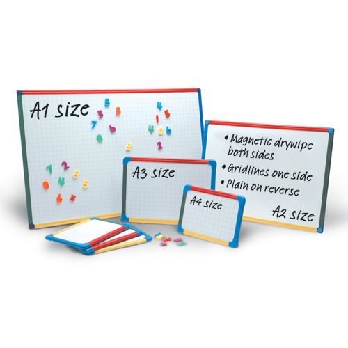 Show-Me A2 Magnetic Double Sided Gridded/Plain Framed Boards - 60 x 45cm -