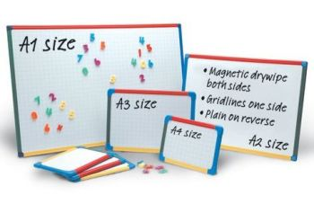 Show-Me A1 Magnetic Double Sided Gridded/Plain Framed Whiteboards - 90 x 60cm - Each