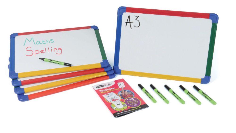 Show-Me A4 Double Sided Melamine Plain/Plain Framed Whiteboards - Pack of 1