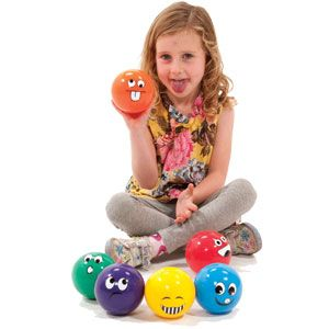 Playmate Funny Face Ball - Assorted - Pack of 6 - 10cm