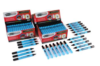 Show-Me Slim Barrel Black Dry Wipe Pens - Fine Tip - 1-1.2mm - Pack of 100