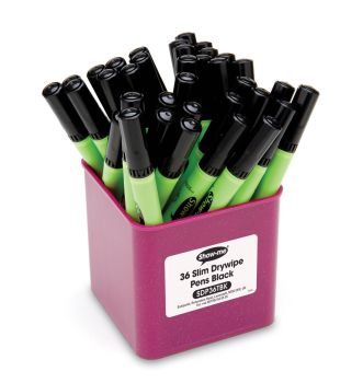 Show-Me Slim Barrel Black Dry Wipe Pens - Medium Tip - 1.6-2mm - Tub of 36
