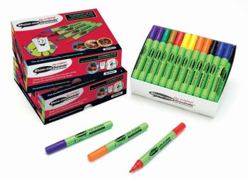 Show-Me Slim Barrel Assorted Dry Wipe Pens - Medium Tip - 1.6-2mm - Pack of 50