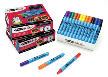 Show-Me Slim Barrel Assorted Dry Wipe Pens - Fine Tip - 1-1.2mm - Pack of 50