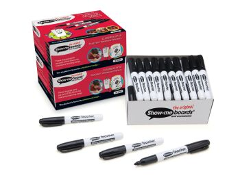 Show-Me Teachers Black Bullet Tip Whiteboard Markers - Pack of 50