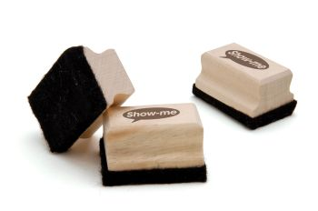 Show-me Mini Wooden Handled Whiteboard/Chalkboard Erasers  - 75 x 50 x 25mm - Pack of 30