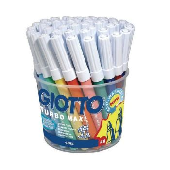 Giotto Turbo Washable Maxi Colouring Pens - Assorted - Pack of 48