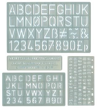 Lettering Stencils - Assorted - 5-30mm - Pack of 4 Stencils
