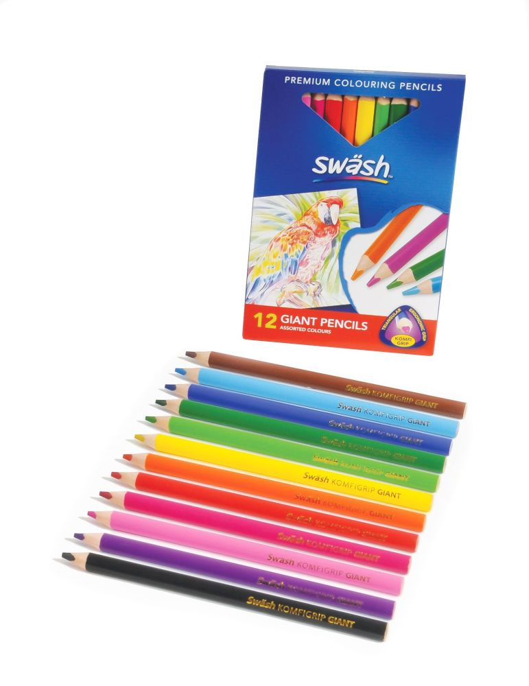 Swash KOMFIGRIP Giant Colouring Triangular Pencils - Assorted - Pack of 12