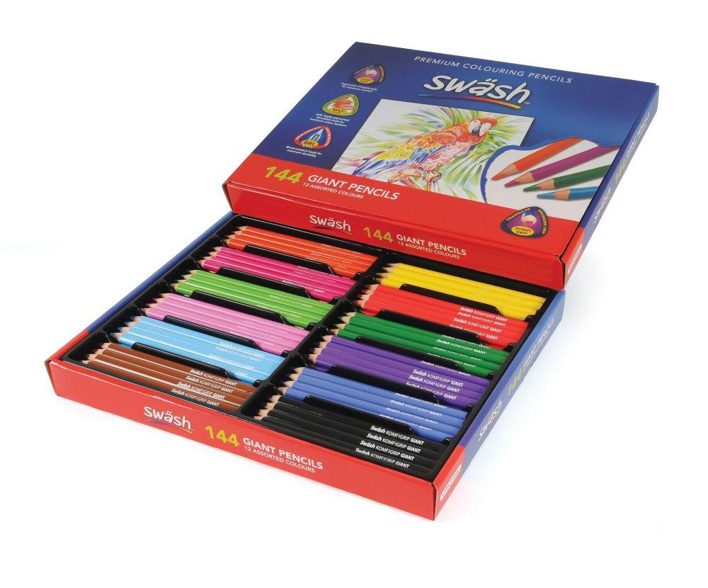 Swash KOMFIGRIP Giant Triangular - Colouring Pencils - 12 Assorted Colours