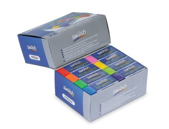 Swash High Performance Plastic Erasers - 8 Assorted Colours - Pack of 32 - 65 x 23 x 13mm