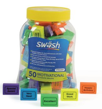 Swash Motivational Erasers - 5 Motivational Messages - Tub of 50 - 30 x 20 x 10mm