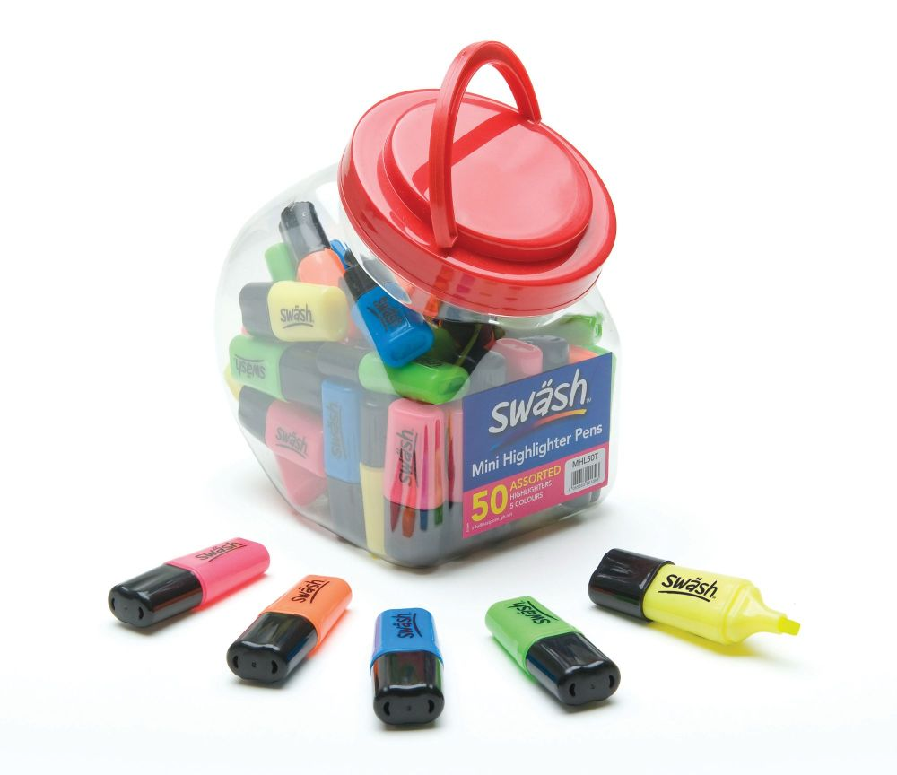 Swash Mini Highlighters  - Assorted - Tub of 50
