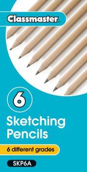 Classmaster Sketching Pencils - Assorted Grades B to 6B - SKP6A - Pack of 6