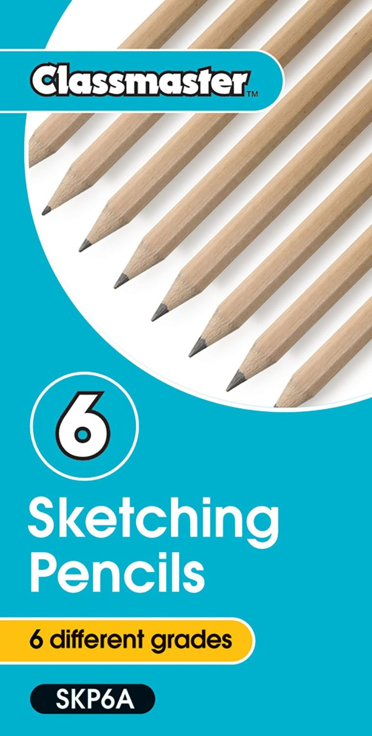 Classmaster Sketching Pencils Assorted Grades B To 6b Pack Of 6