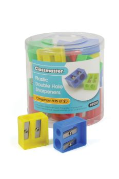 Classmaster Plastic Double Hole Sharpener - PSP225 - Tub of 25