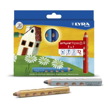Lyra Groove Chunky TripleOne Triangular Colouring Pencils - Assorted - Pack of 12