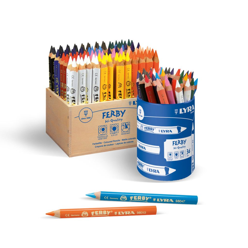 Lyra Ferby Lacquered Chunky Triangular Colouring Pencils - Assorted - Schoo