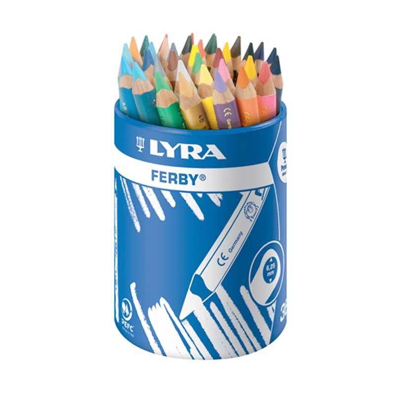Lyra Ferby Lacquered Chunky Triangular Colouring Pencils - Assorted - Tub o