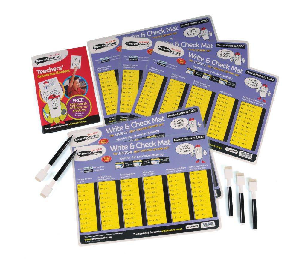 Show-Me Drywipe Write and Check Mats with Pens - Maths 3 - Set of 5