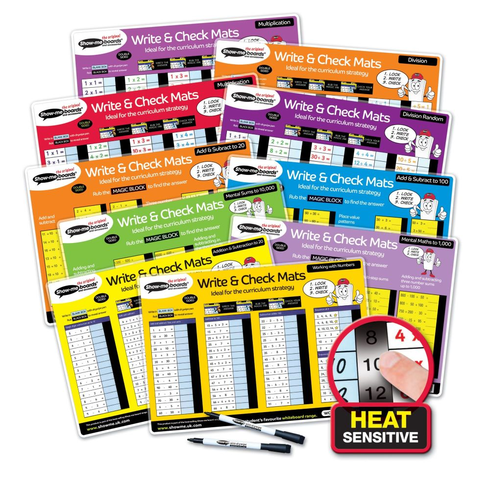 Show-Me Drywipe Write and Check Mats with Pens - Assorted Maths - Set of 10