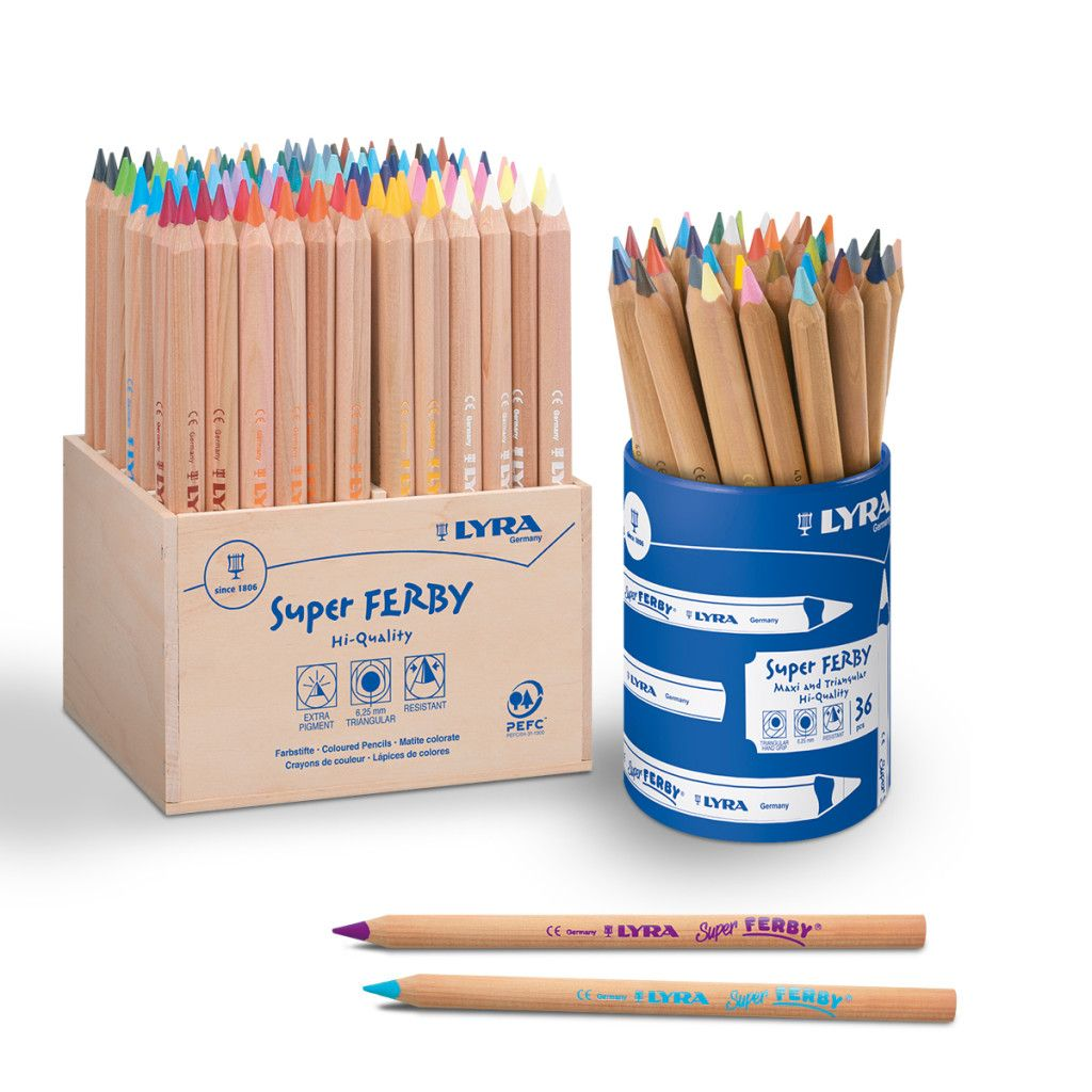 Lyra Super Ferby Nature Chunky Triangular Colouring Pencils - Assorted - Tu