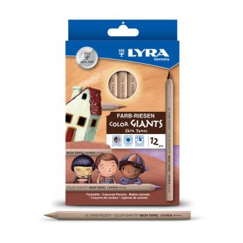 Lyra Color Giant Skin Tones Chunky Colouring Pencils - Assorted - 3930500 - Pack of 12