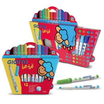 Giotto Be-be' Super Fibre Tipped Colouring Pens - Assorted - Pack of 12