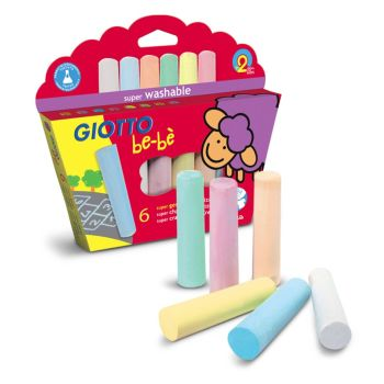 Giotto Be-be Super Chalks - Assorted - Pack of 6