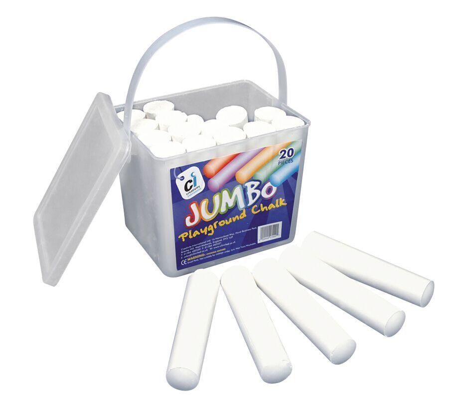 White Jumbo Playground Chalk - 10 x 2.5cm - Pack of 20