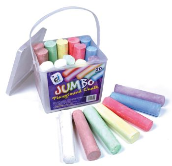 Coloured Jumbo Playground Chalk - Assorted - 10 x 2.5cm - Pack of 20