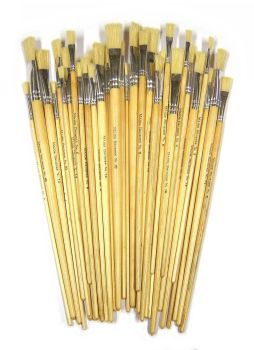Hog Hair Long Handle Flat Brushes - Assorted - Class Pack of 60