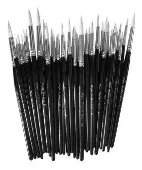 White Synthetic Sable Round Tip Brushes - Assorted - Class Pack of 50