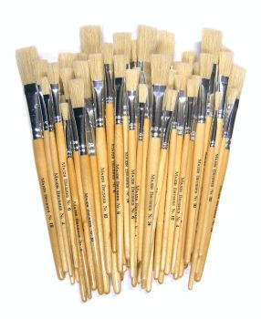 Chubby Brushes Hog Hair Short Handle Flat Brushes - Assorted - Class Pack of 60