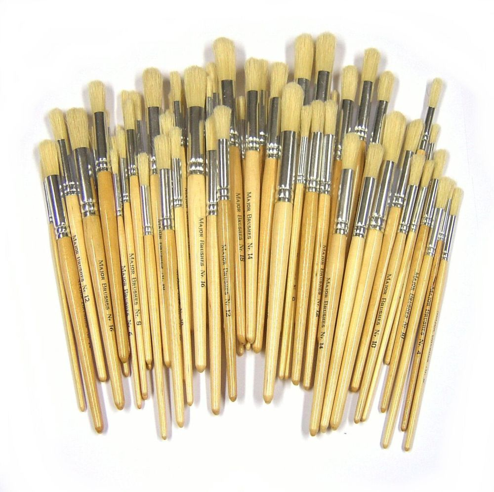 Chubby Brushes Hog Hair Short Handle Round Brushes - Assorted - Class Pack