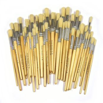 Chubby Brushes Hog Hair Short Handle Round Brushes - Assorted - Class Pack of 100