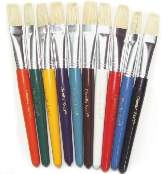 Painted Short Handle Chubby Flat Bristle Paint Brushes - Pack of 10