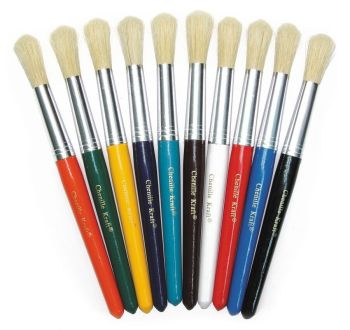 Painted Short Handle Chubby Round Bristle Paint Brushes - Pack of 10