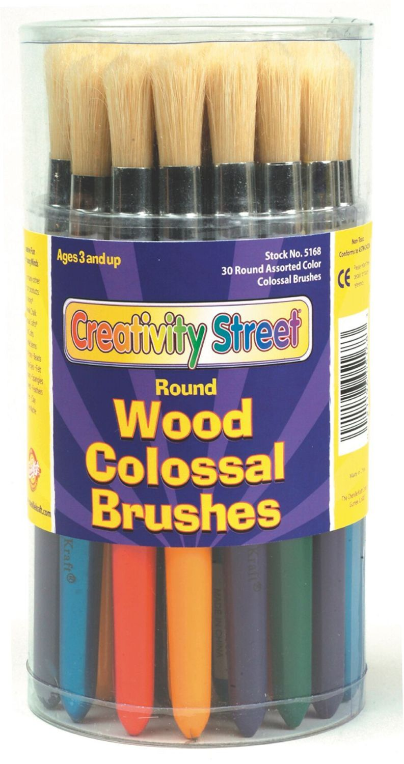 Painted Short Handle Chubby Round Bristle Paint Brushes - Pack of 30