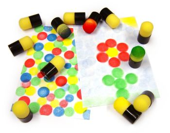 Mini Sponge Paint Dabbers - 7 x 3.5cm - Pack of 12