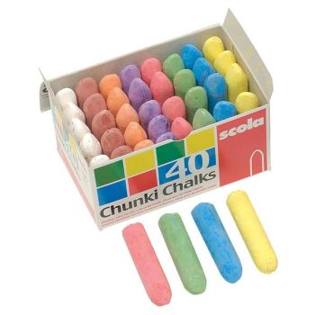 Coloured Chunki Chalks - Assorted - 57 x 14mm - Box of 40