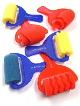 Sponge Paint Pattern Rollers - Assorted - Pack of 6