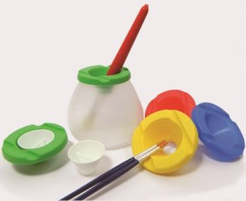 Extra Safe Non-Spill Paint/Water Pots with Lids & Stoppers - Assorted - Pack of 6