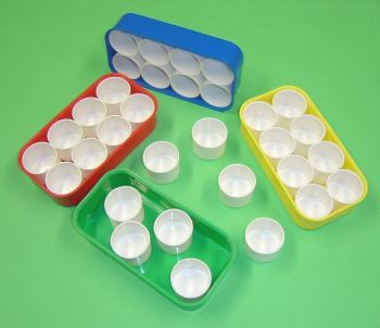 Plastic Paint Tray with 8 Pots - 21 x 11cm - Pack of 4