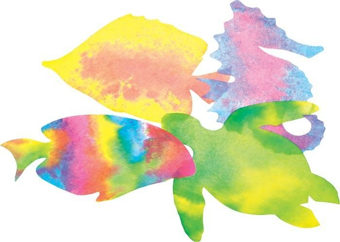 Colour Diffusing Paper - Sealife - Assorted - 18 x 25cm - Pack of 48