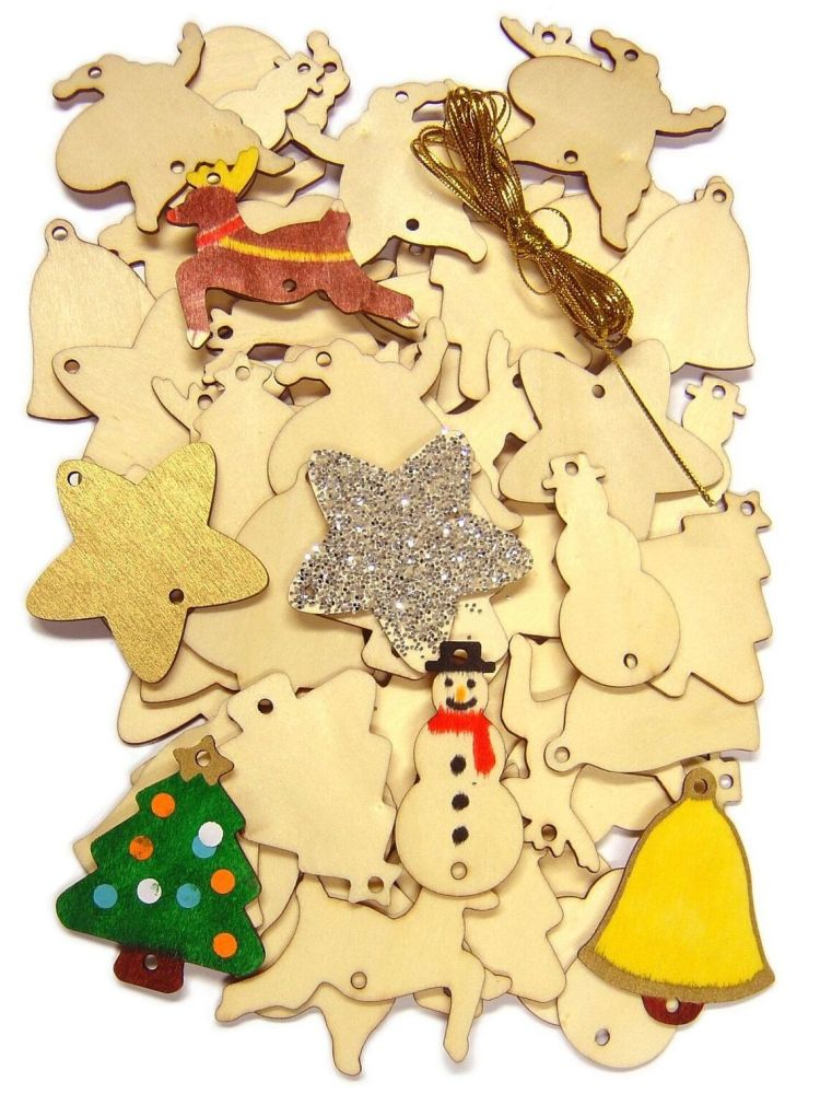 Wooden Christmas Decorations - Assorted - Pack of 54