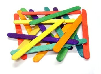 Coloured Wooden Craft/Lolly Sticks - 11 x 9.5mm - Pack of 1000